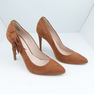 Nine West | Ginny Pointed Toe Fringe Pumps Tan